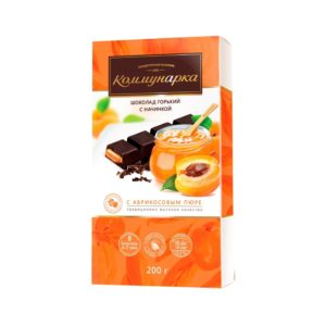Шоколад Коммунарка горький с пюре из абрикоса 200 гр пенал